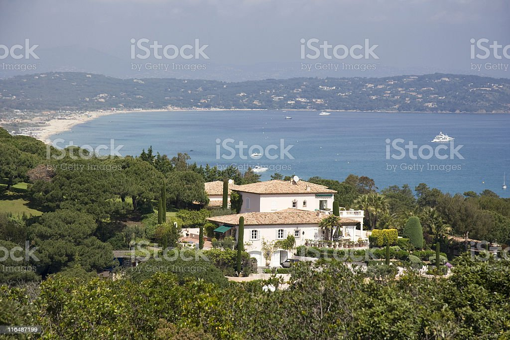 villa over the gulf of Saint-Tropez royalty-free stock photo