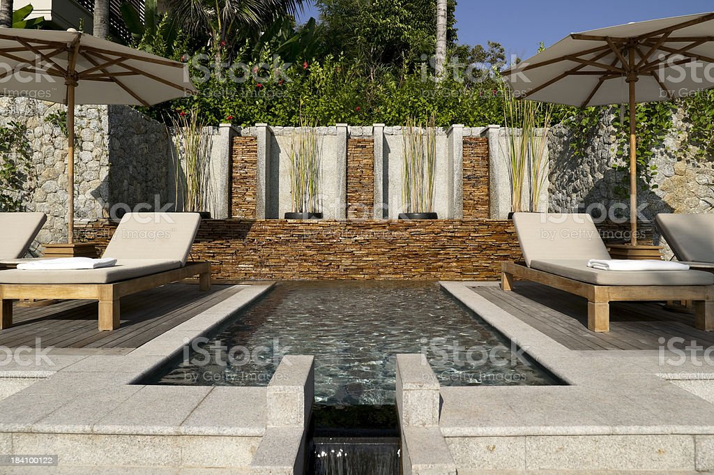villa pool deck phuket stock photo