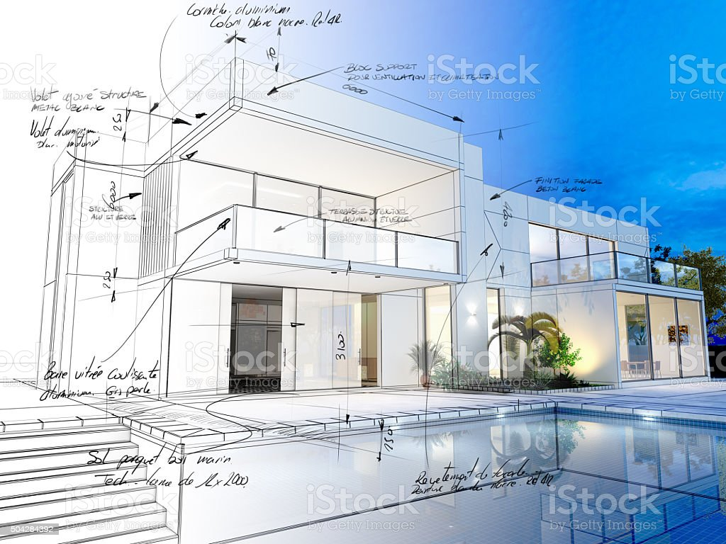Villa technical draft vector art illustration