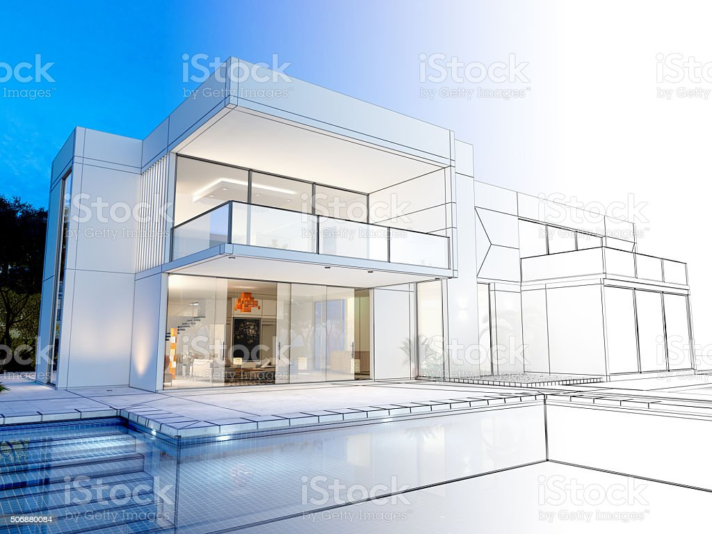 Villa technical rendering stock photo