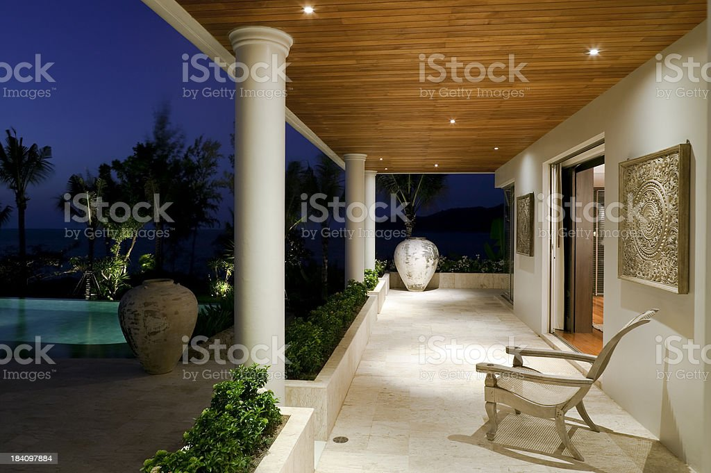 villa veranda porch building exterior stock photo