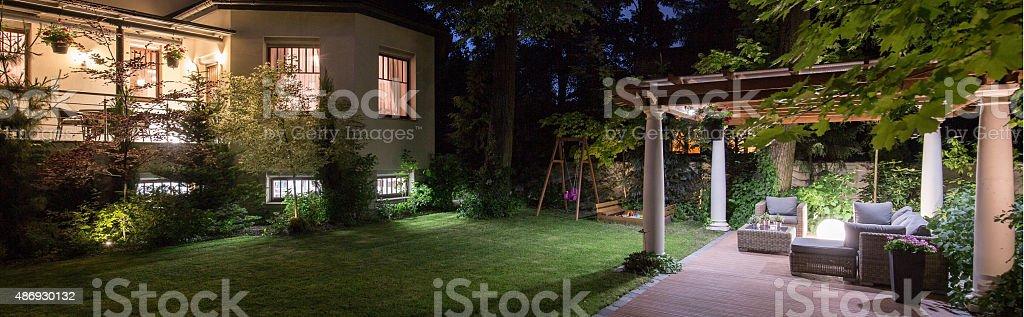 Villa with patio stock photo