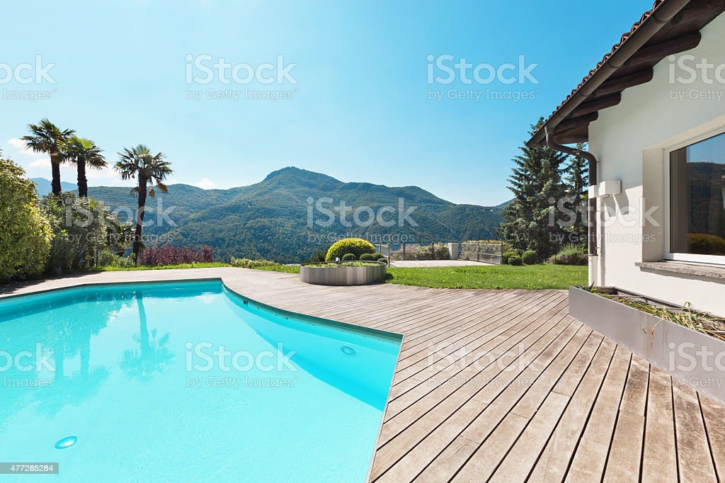 villa with swimming pool stock photo