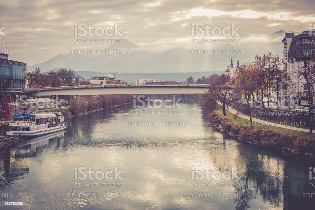 Villach and Drava River at Christmas, Carinthia, Austria stock photo