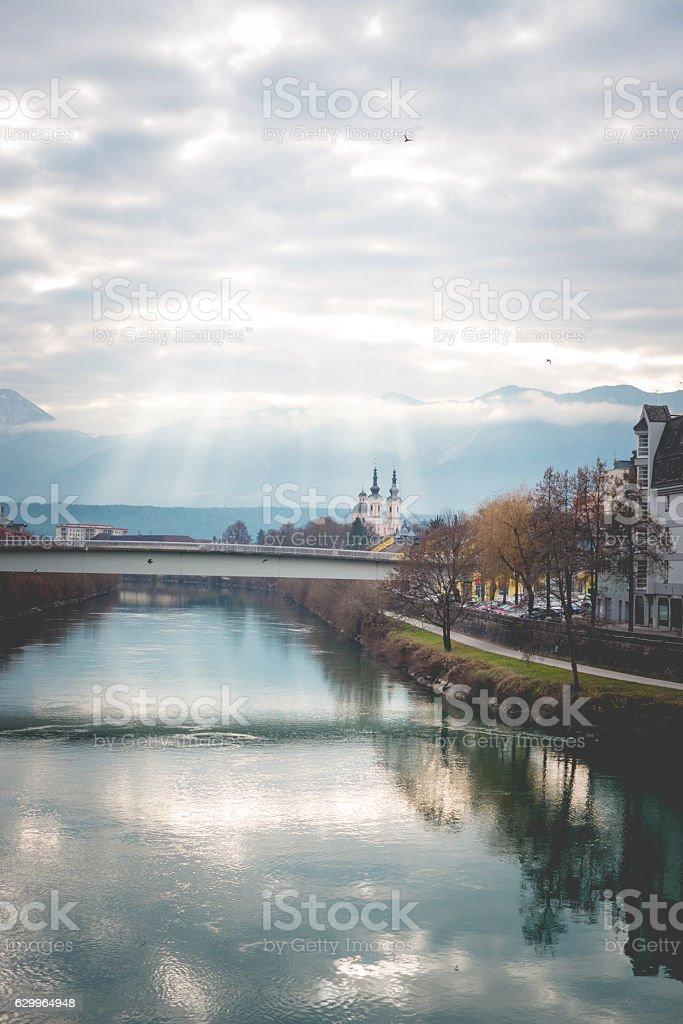 Villach and Drava River, Carinthia, Austria, Europe stock photo