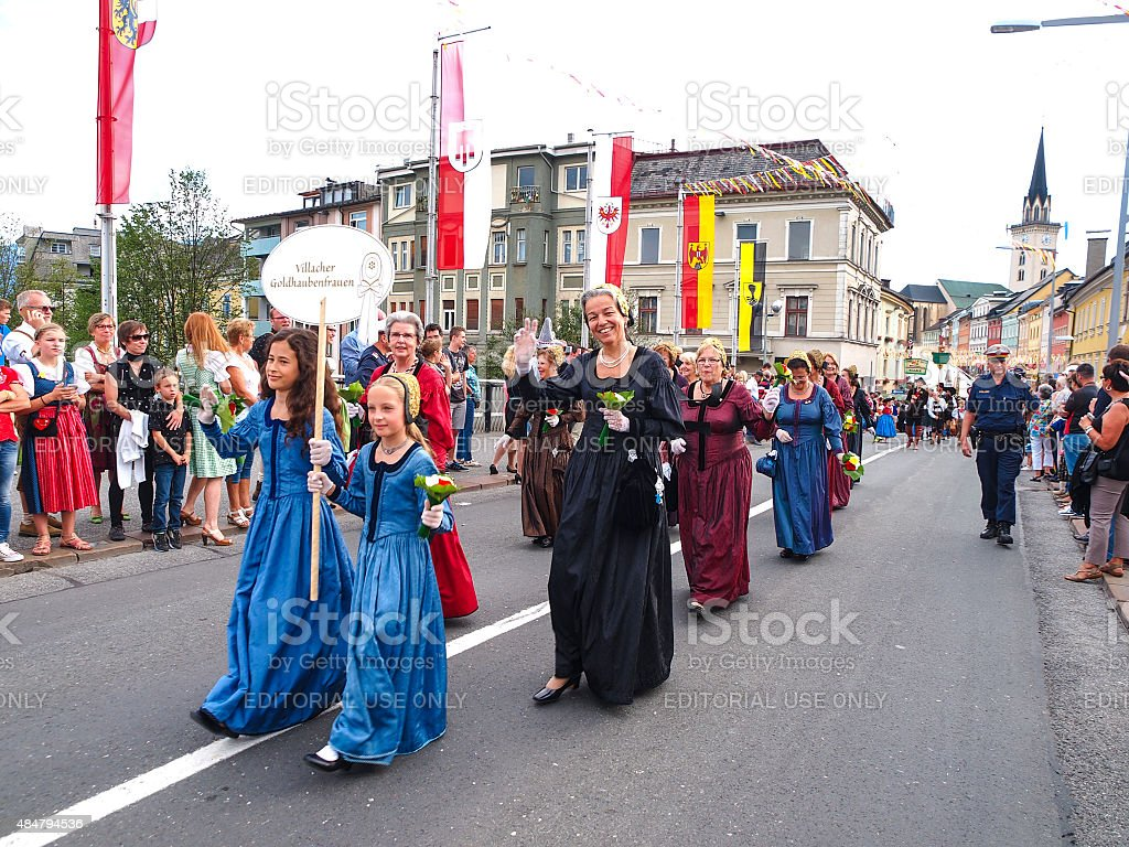 Villacher Kirchtag, parade in traditional dresses in Villach, Austria stock photo