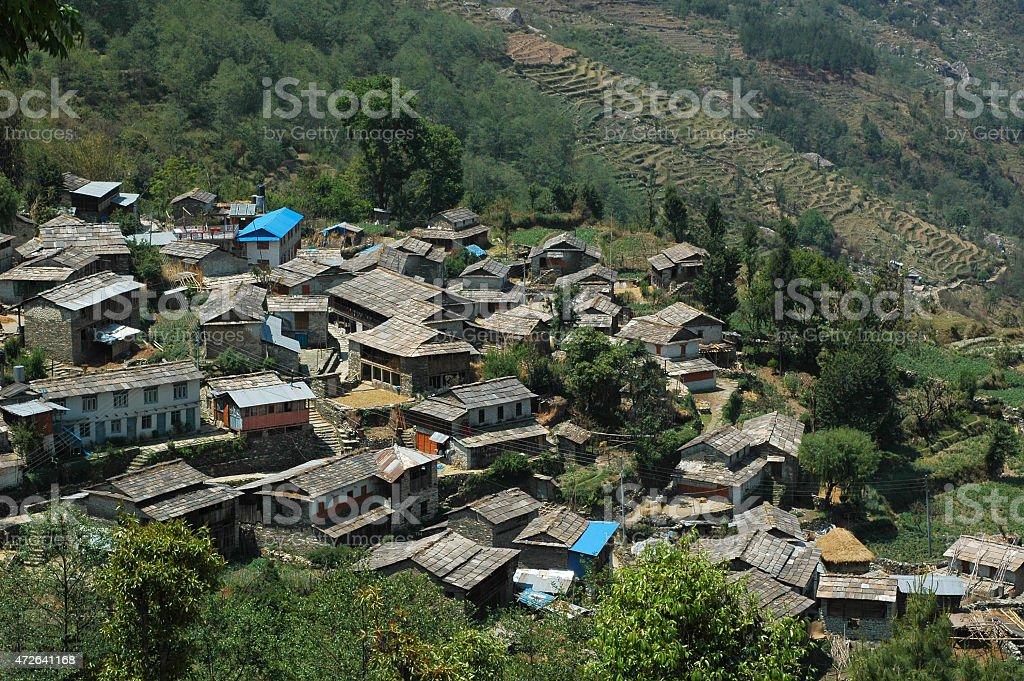 Village along the Annapurna circuit stock photo