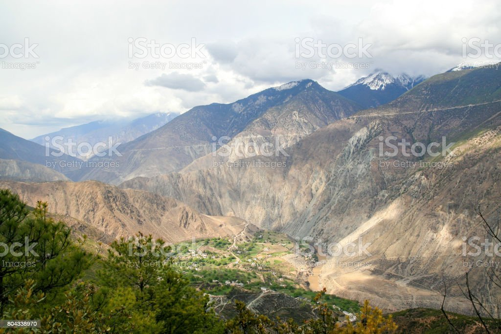 village among the mountains stock photo