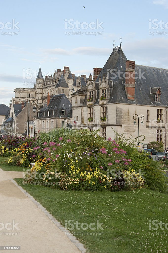 village and castle of Amboise stock photo