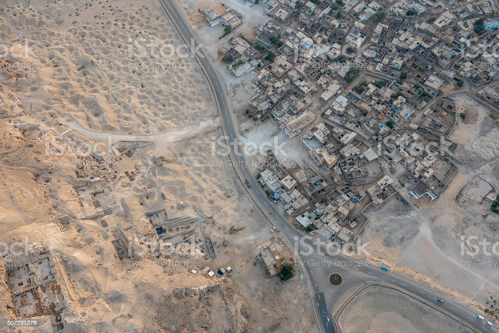 Village and desert, Luxor, Egypt stock photo