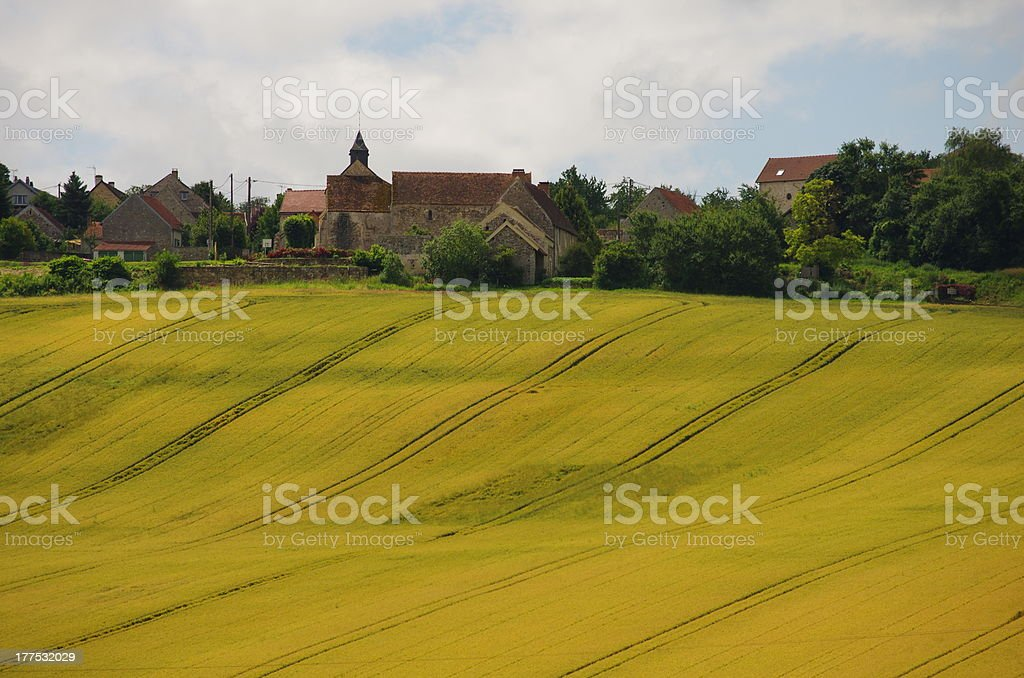 Village and field stock photo