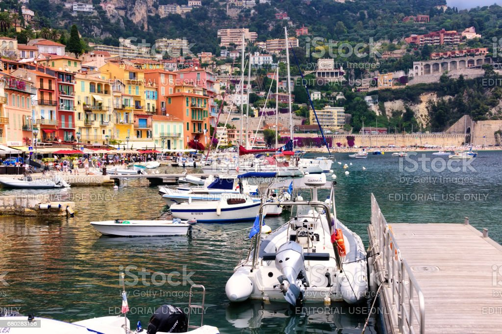 Village and Harbor in Villefranche stock photo