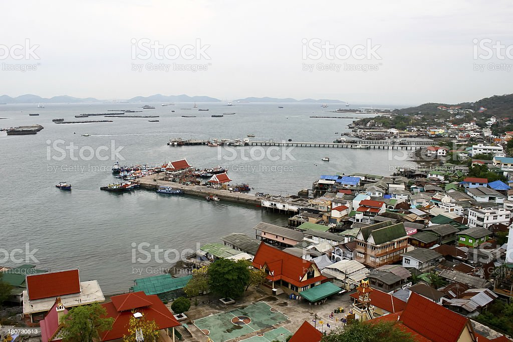 village and harbor royalty-free stock photo