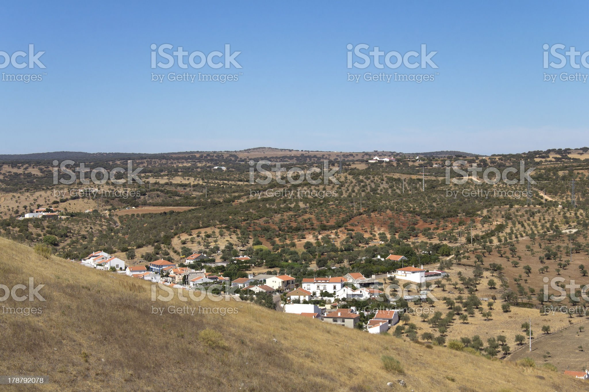Village and plains royalty-free stock photo