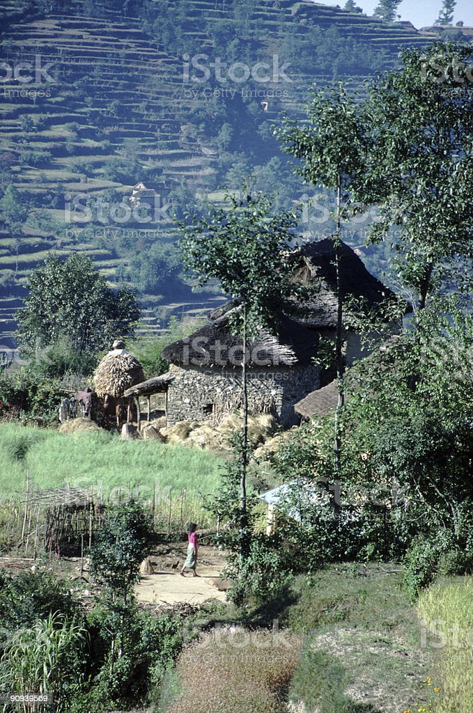 Village and Terraces, Nepal royalty-free stock photo