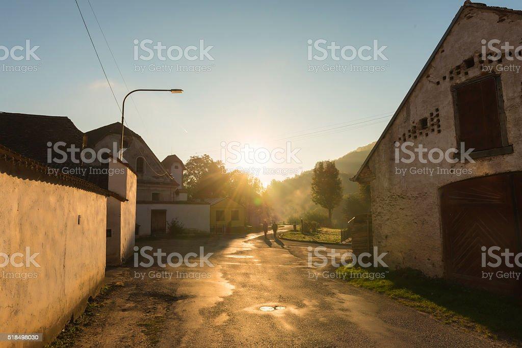 Village at sunrise stock photo