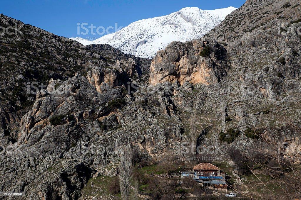 Village Barla near Egirdir lake and Egirdir Mountain, Turkey stock photo
