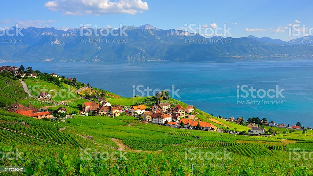 Village beside the lake Geneva stock photo