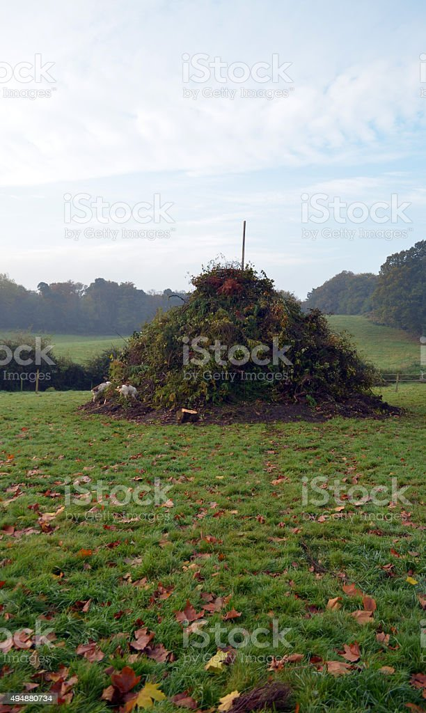 Village bonfire ready for Guy Fawkes night. stock photo