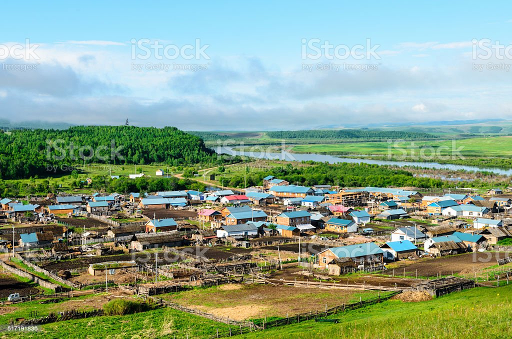 Village by the Argun River, Inner Mongolia, China stock photo