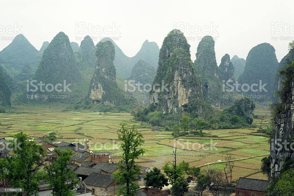 Village By The Hills stock photo