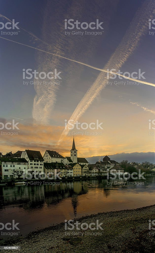 Village By The Rhine royalty-free stock photo