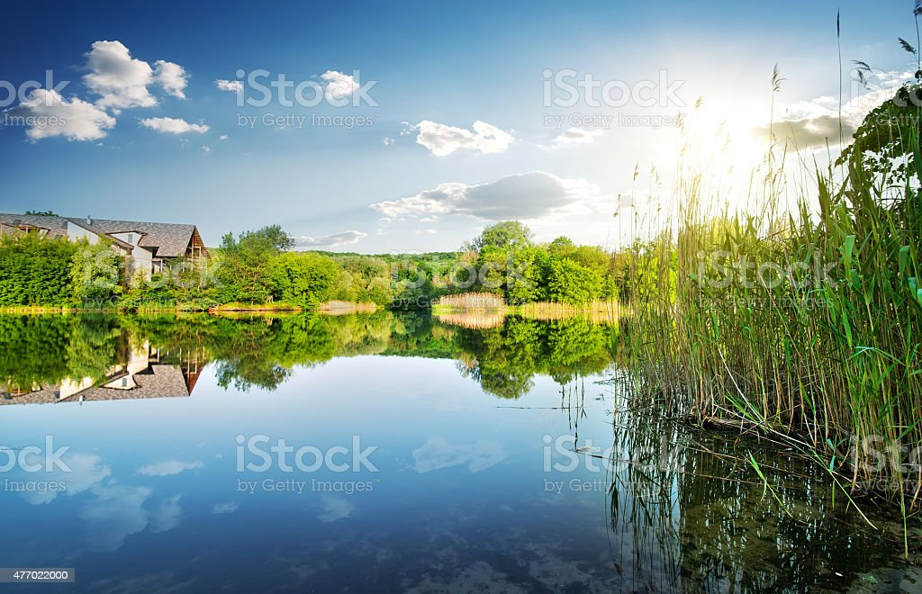 Village by the river stock photo