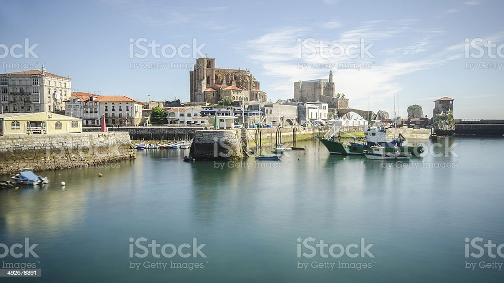 Village by the sea stock photo