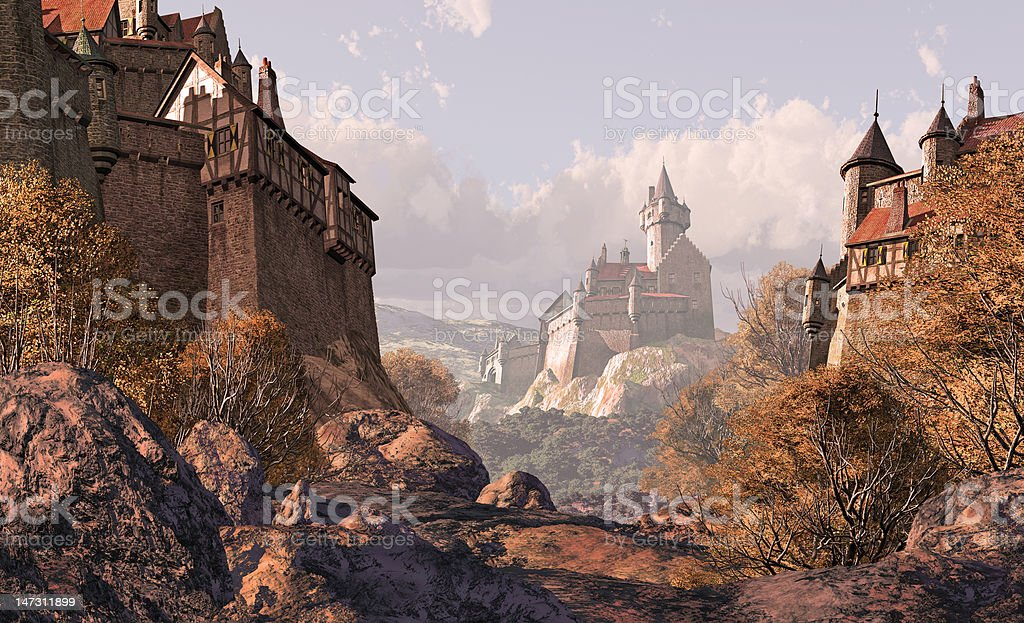 Village Castle In Medieval Times stock photo