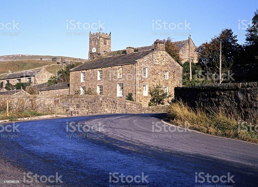 Village centre, Muker, Yorkshire Dales. stock photo