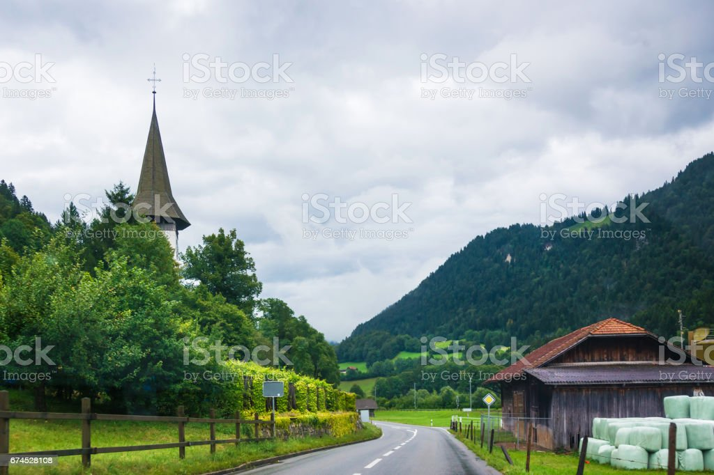 Village Church in Boltigen at Jaun Pass in Fribourg Switzerland stock photo