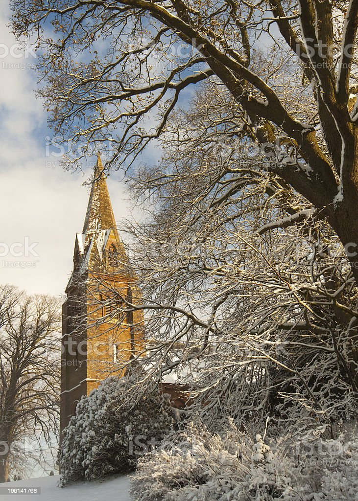 Village Church in Winter royalty-free stock photo
