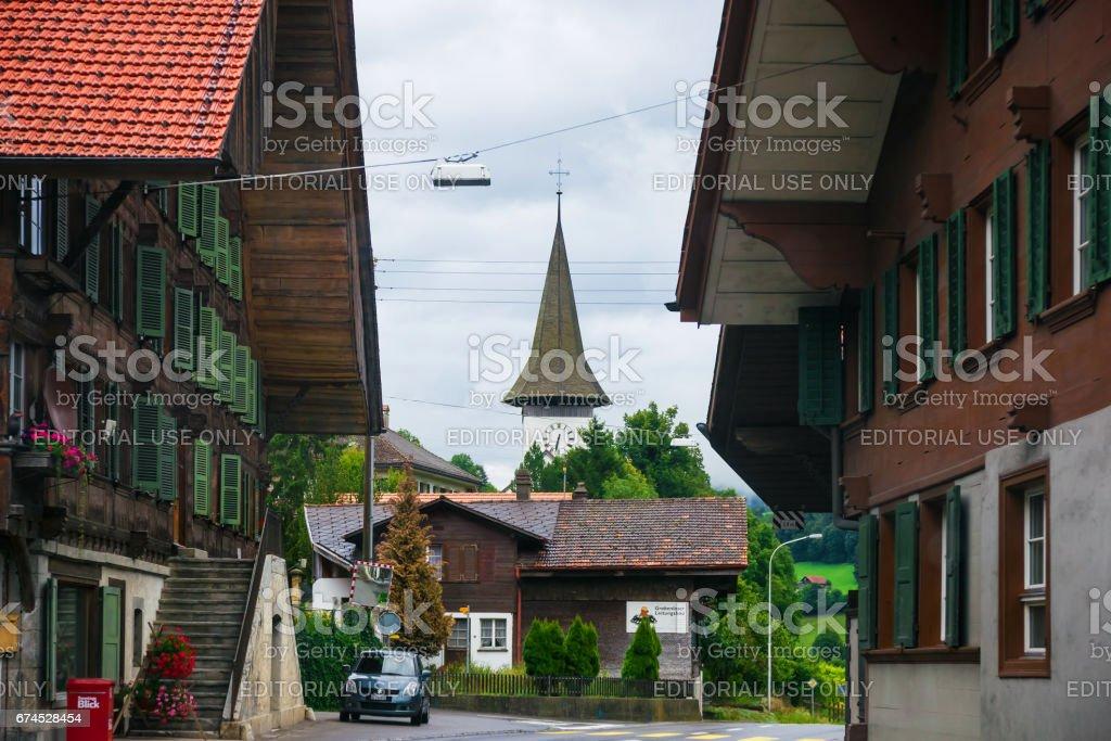 Village Church of Boltigen at Jaun Pass in Fribourg Switzerland stock photo
