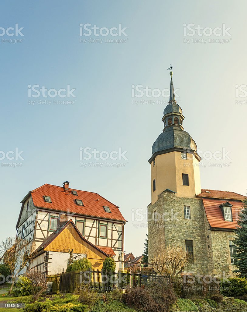 village church on a hill in Germany stock photo