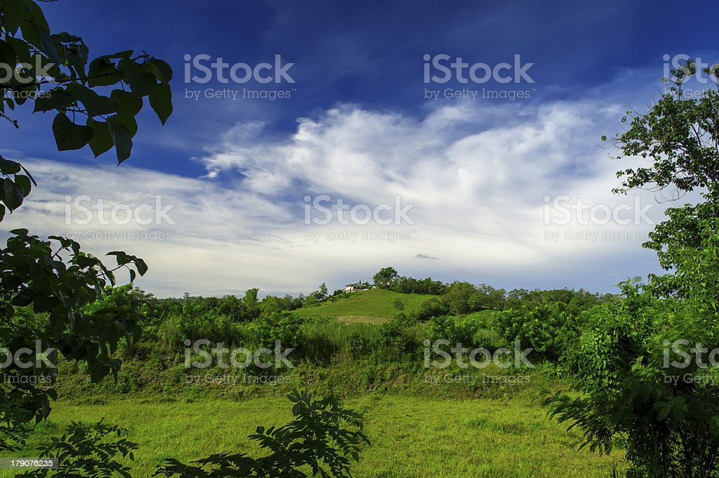 Village Church on the Hill. royalty-free stock photo