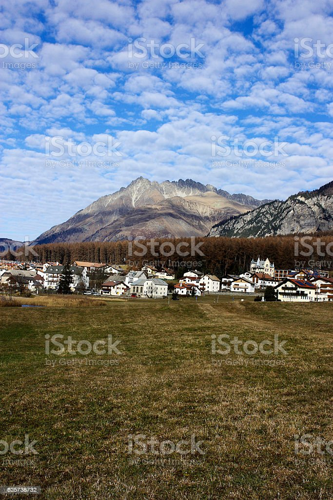 Village closed to Reschenpass in South Tyrol, Italy. stock photo
