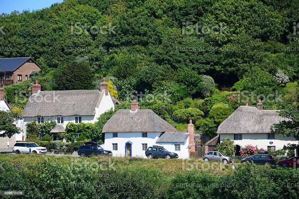 Village cottages, Lulworth Cove. stock photo