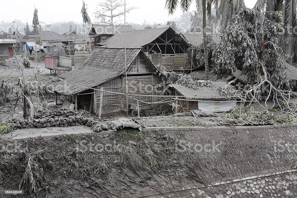 Village covered in volcanic ash, Indonesia stock photo