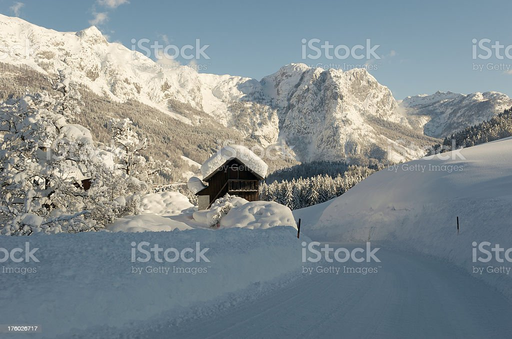 Village covered with Snow - Day after heavy snowstorm royalty-free stock photo