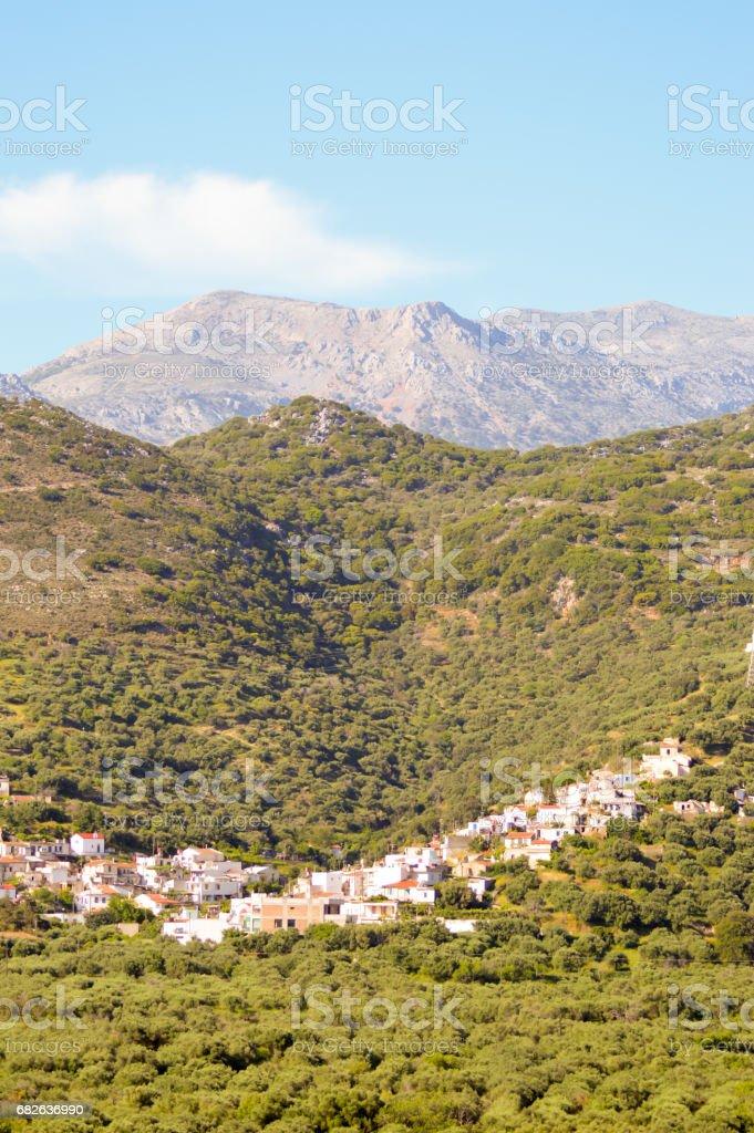 Village Cretan perched stock photo