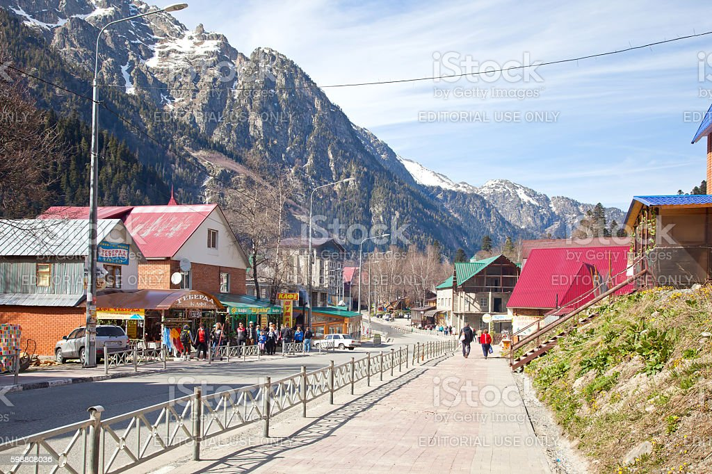 Village Dombay. Mountains, skiing resort stock photo