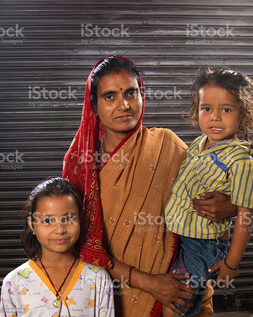 Village Family in Rural India royalty-free stock photo