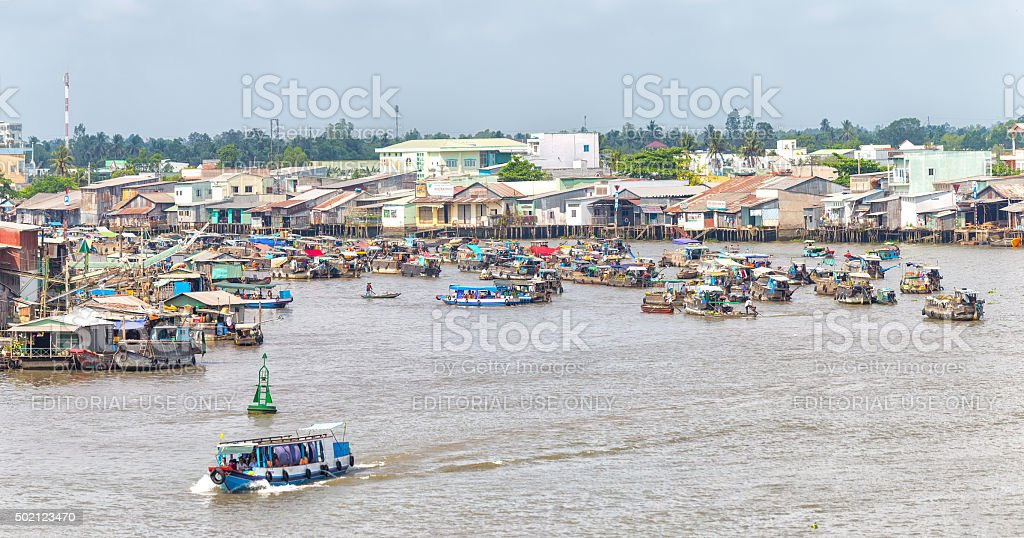 Village floating market on the Mekong river junction stock photo