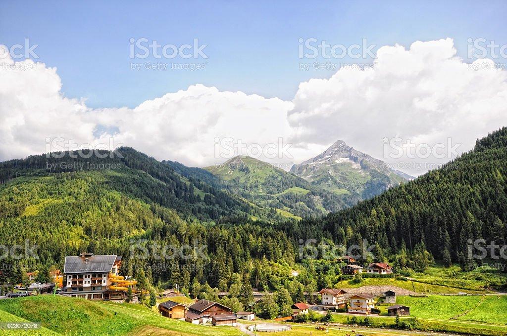 village gerlos in zillertal at european alps (Austria) stock photo