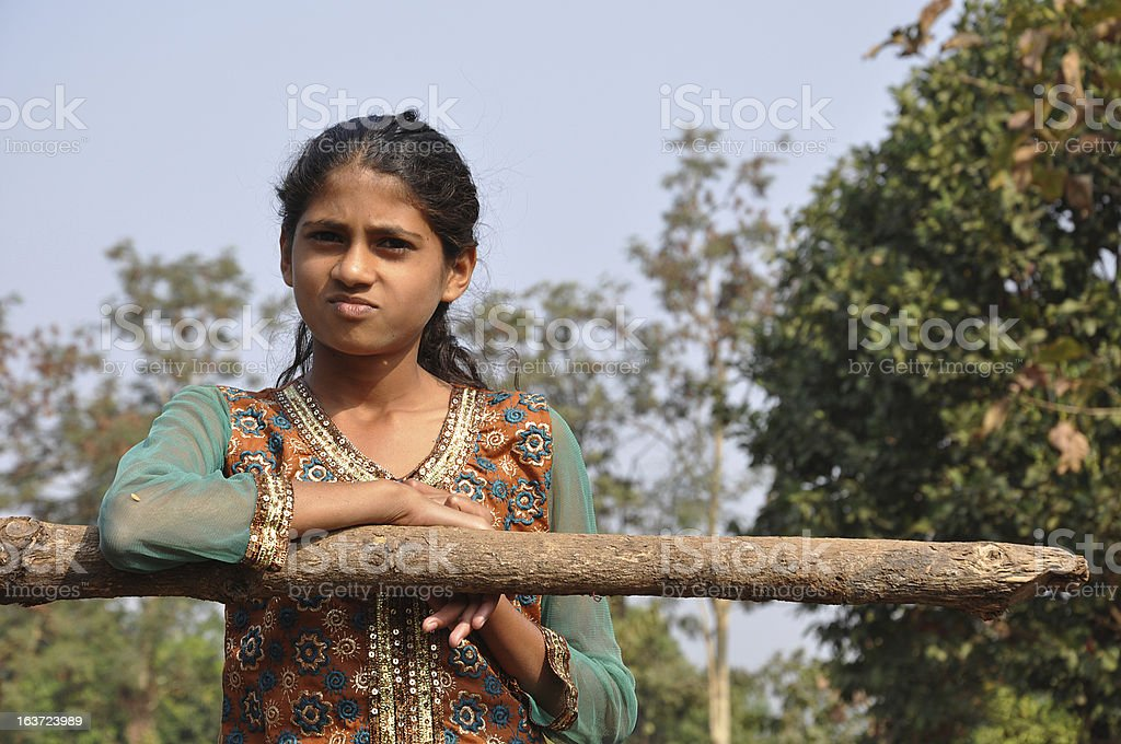 Village girl smileing to camera royalty-free stock photo