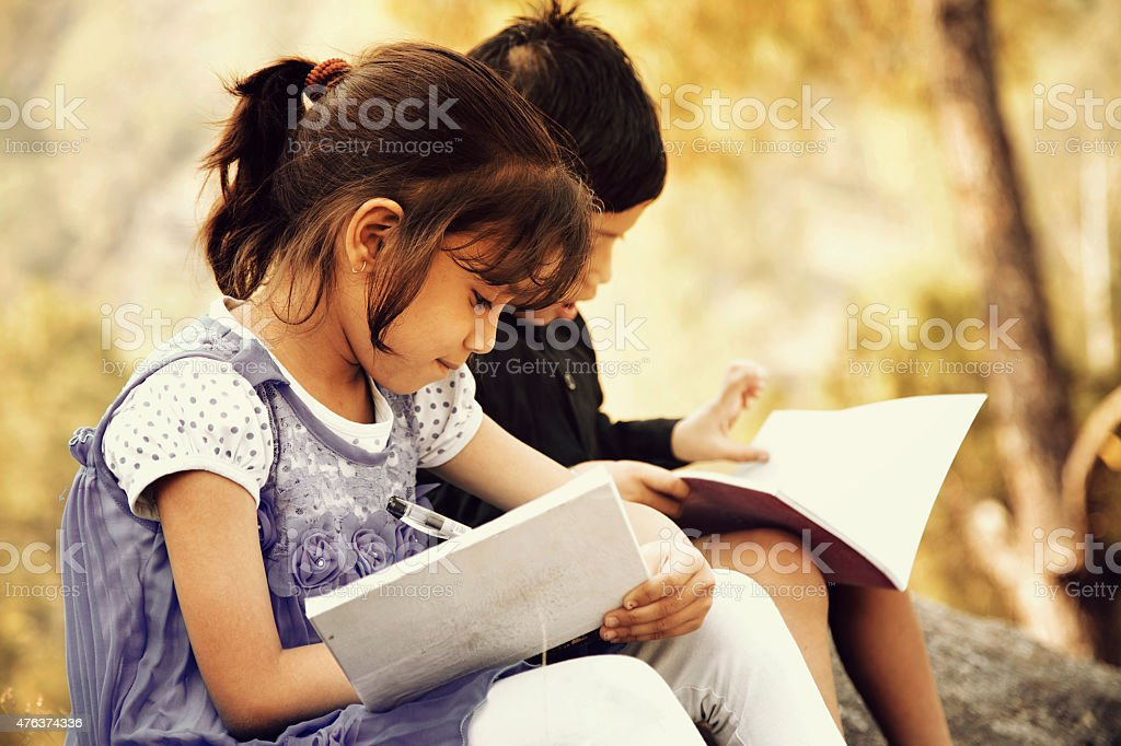 Village girl studying with her brother stock photo