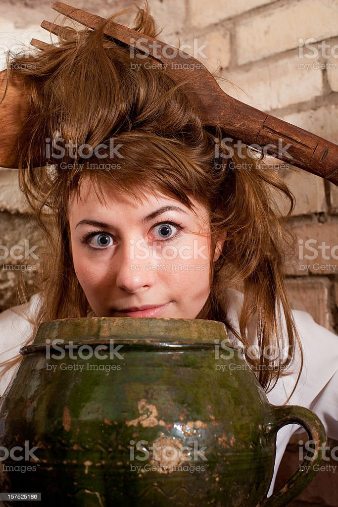Village Girls: Macaroni/Spaghetti royalty-free stock photo