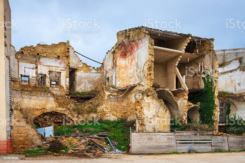 Village house destroyed by the Earthquake stock photo