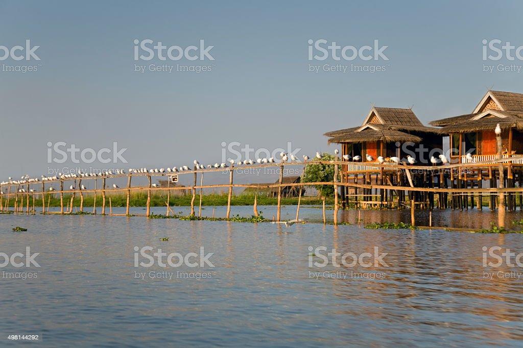 Village house on Inle Lake stock photo