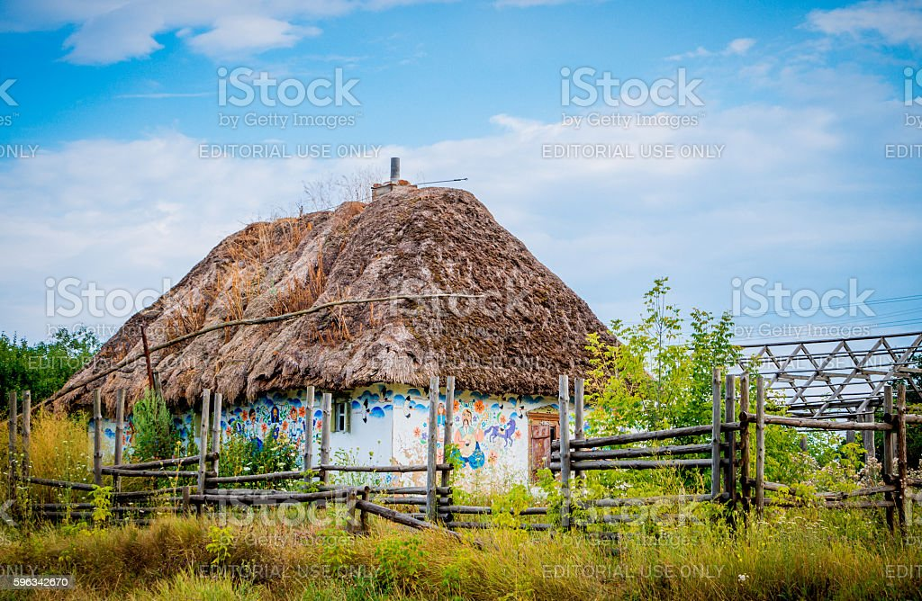 Village house with paintings in a folk style stock photo
